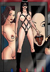 Two 3d shemales in black uniform enslaved and collared dark haired gilr before doublepenetrating her.