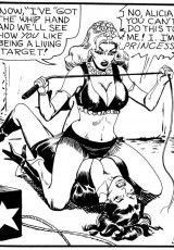 Stylish black and white porn bdsm comics of hot blonde mistress with a whip dominating brunette bitch